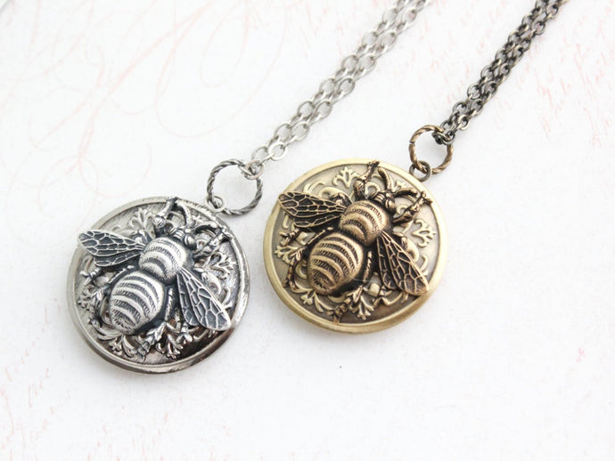 Bee Locket - Antiqued Silver