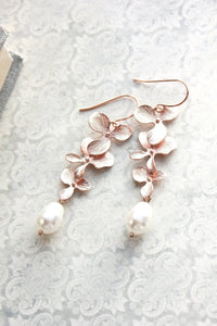 Cascading Orchid Earrings - Rose Gold
