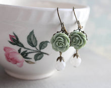 Load image into Gallery viewer, Sage Green Rose Earrings
