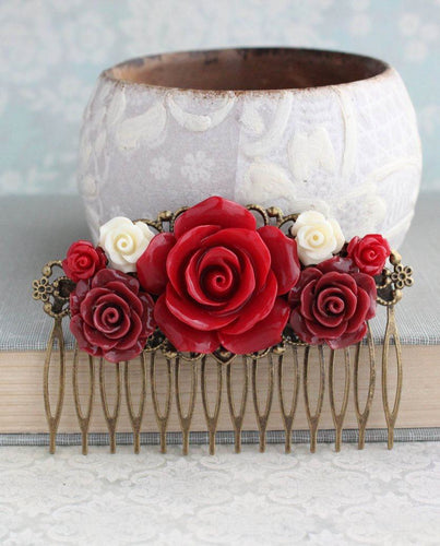 Dark Red Rose Hair Comb - C1056