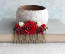 Load image into Gallery viewer, Dark Red Rose Hair Comb - C1056