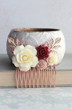 Load image into Gallery viewer, Rose Gold Floral Comb - C1047