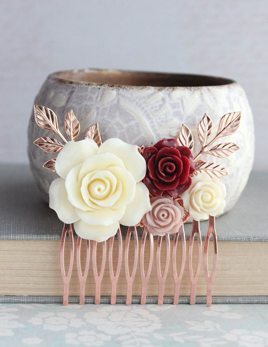 Rose Gold Floral Comb - C1047