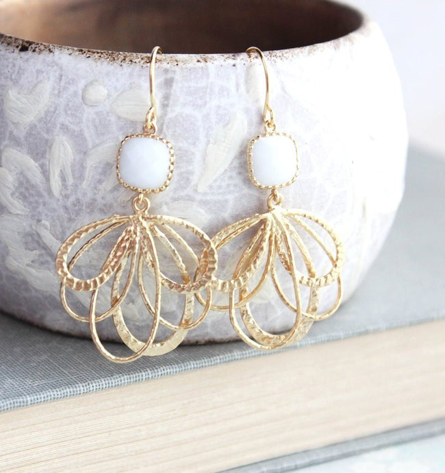 Gold Loop Earrings - White