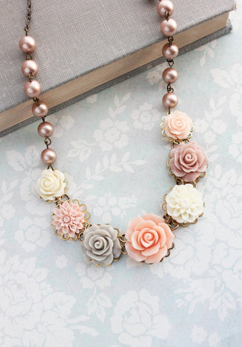 Blush Rose Bib Necklace