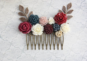 Burgundy and Navy Hair Piece - C1026