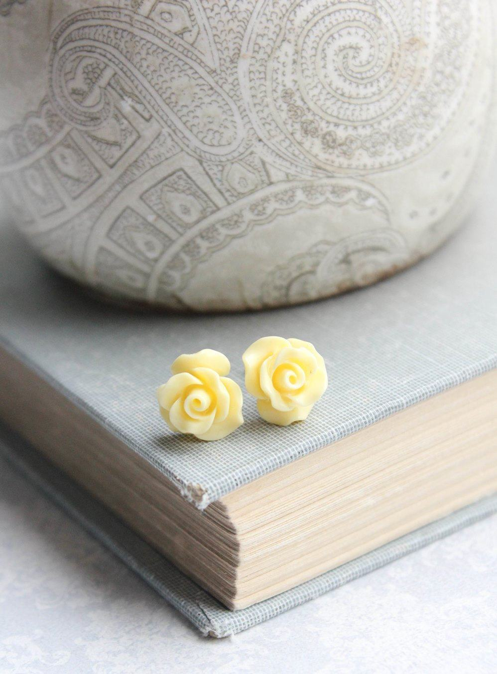 Ruffle Rose Studs - Yellow