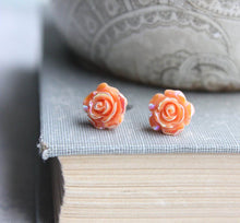 Load image into Gallery viewer, Shimmer Rose Studs - Orange