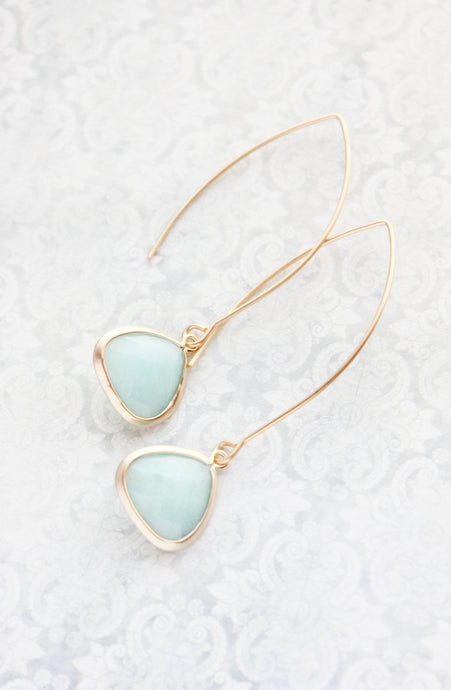 Long Glass Earrings - Alice Blue