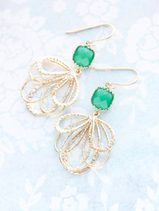 Gold Loop Earrings - Jade Green
