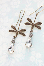 Load image into Gallery viewer, Dragonfly Earrings - Crystal Glass