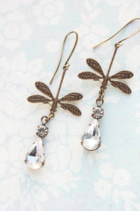 Dragonfly Earrings - Crystal Glass