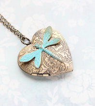 Load image into Gallery viewer, Patina Dragonfly Heart Locket