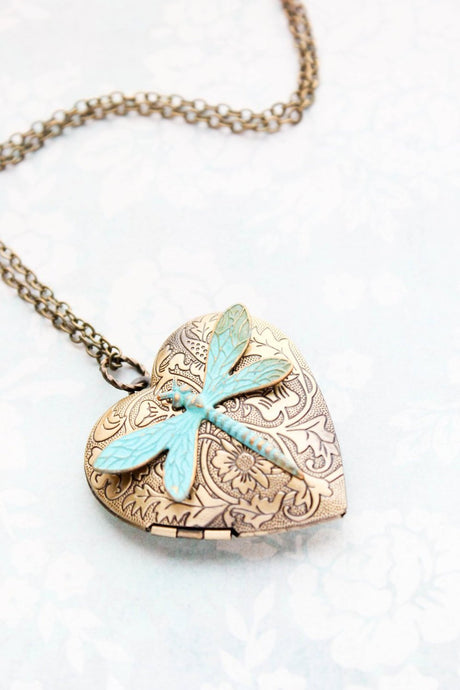 Patina Dragonfly Heart Locket