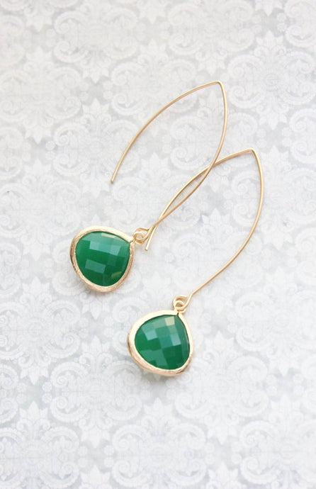 Jade Green Glass Earrings