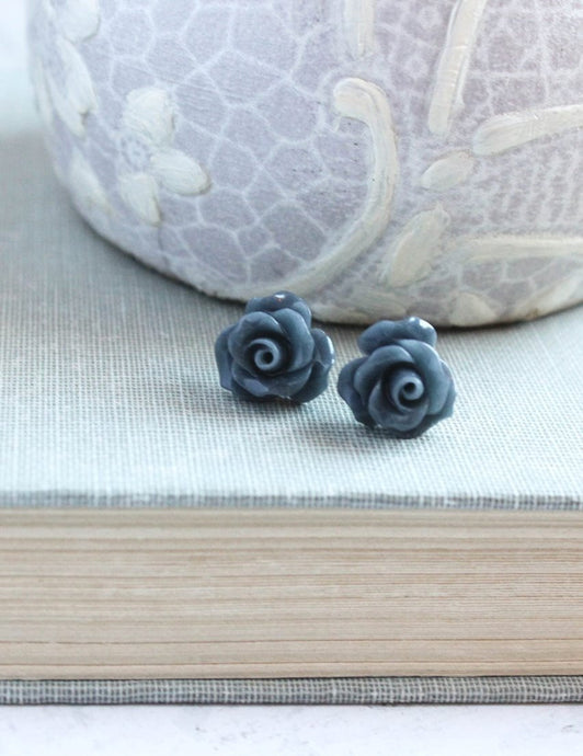 Ruffle Rose Studs - Navy