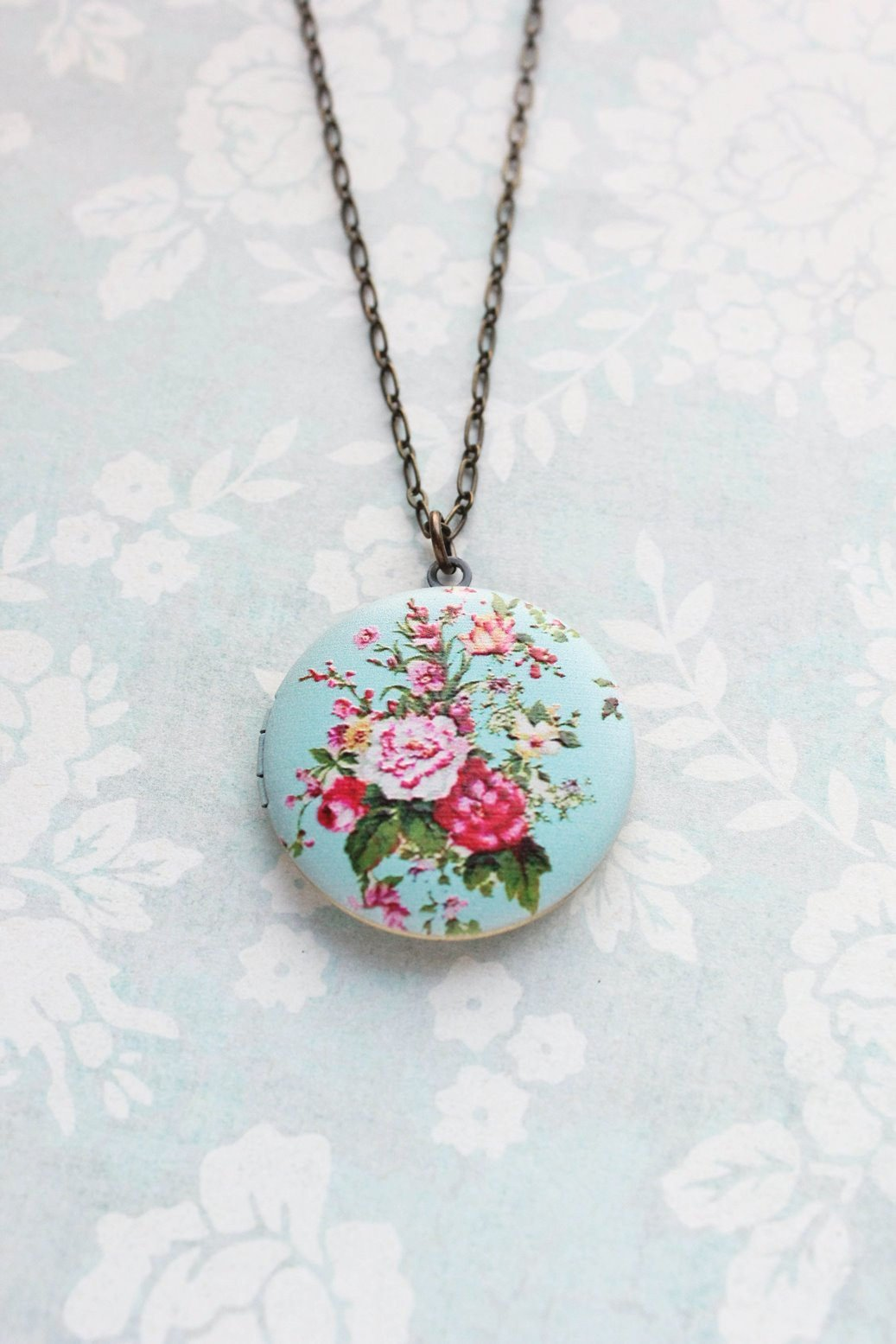 Floral Locket Necklace - Aqua and Pink