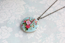 Load image into Gallery viewer, Floral Locket Necklace - Aqua and Pink