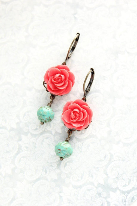 Coral Red Rose Earrings