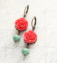 Load image into Gallery viewer, Coral Red Rose Earrings