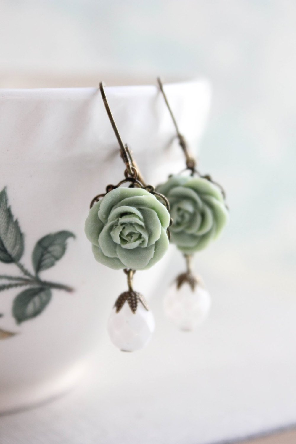 Sage Green Rose Earrings