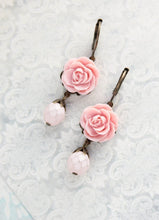 Load image into Gallery viewer, Pink Rose Earrings