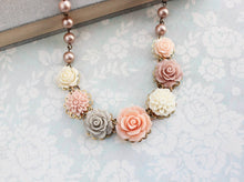 Load image into Gallery viewer, Blush Rose Bib Necklace