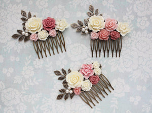 Dusty Pink Hair Comb - C1043