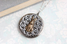 Load image into Gallery viewer, Rabbit Locket Necklace - Antiqued Brass