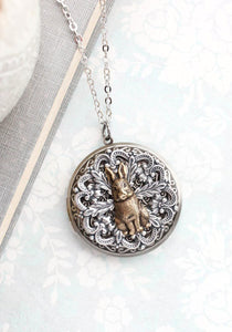 Rabbit Locket Necklace - Antiqued Brass