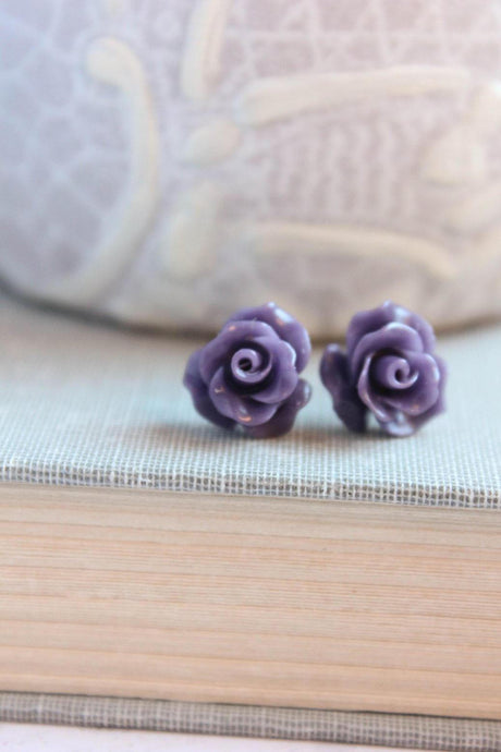 Ruffle Rose Studs - Purple