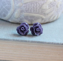 Load image into Gallery viewer, Ruffle Rose Studs - Purple
