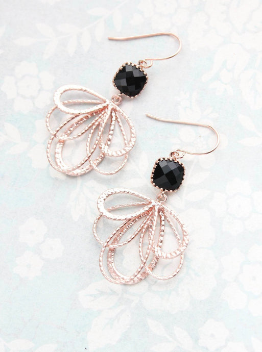 Rose Gold Loop Earrings - Jet Black