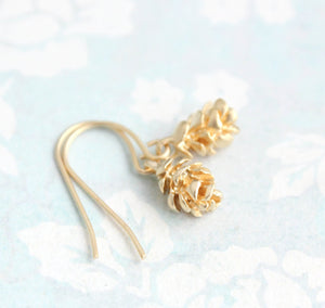 Gold Tree Cone Earrings