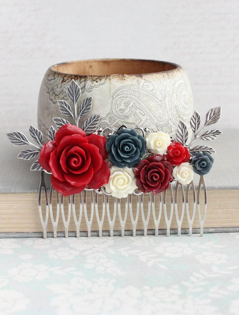 Red and Silver Floral Comb - C1036