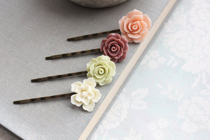 Peach Rose Bobby Pins - BP1008