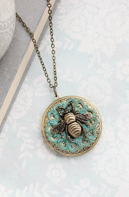 Honey Bee Locket Necklace