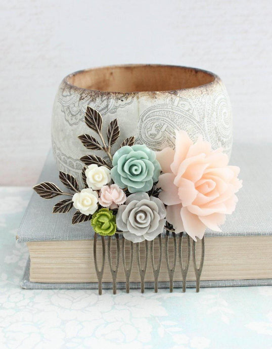 Blush Floral Hair Comb - C1025