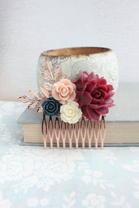 Marsala and Rose Gold Comb - C1017