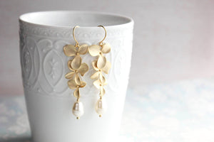Cascading Orchid Earrings - Gold
