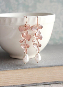 Cascading Orchid Earrings - Silver Rhodium