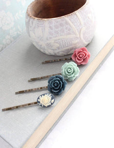 Dusty Rose and Navy Bobby Pins - BP1003