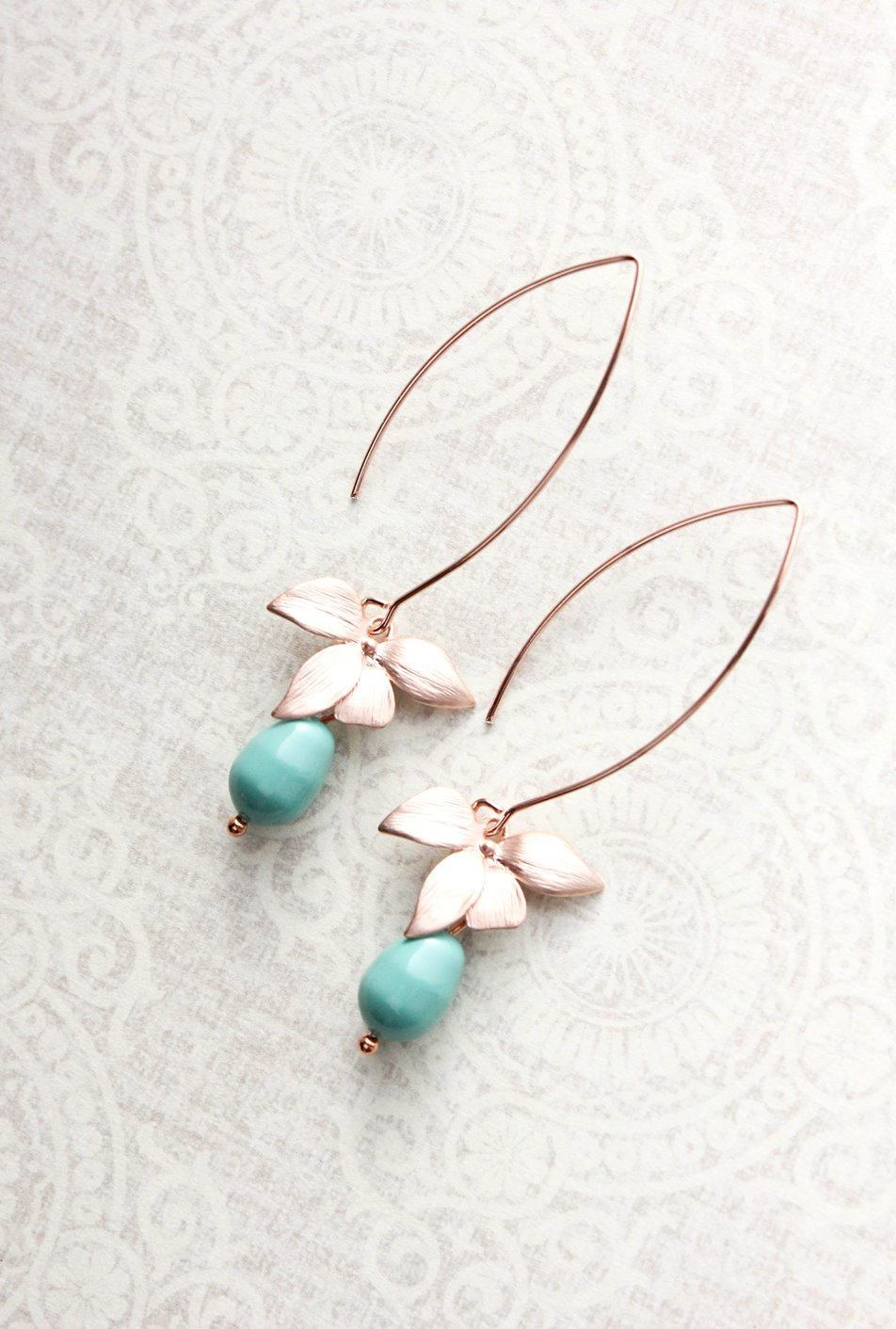 Rose Gold Orchid Earrings - Teal Pearl