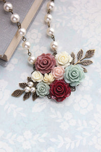 Dusty Rose Floral Medallion Necklace