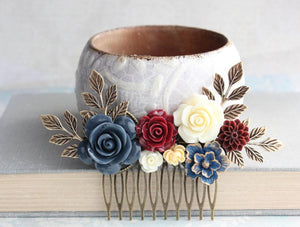 Navy Floral Hair Comb - C1037