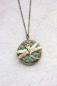 Gold Dragonfly Locket