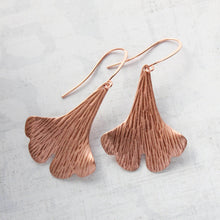 Load image into Gallery viewer, Copper Ginkgo Leaf Earrings