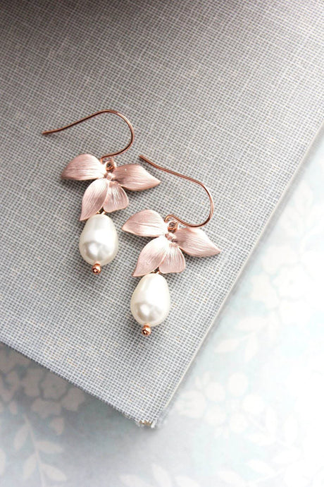 Rose Gold Orchid Earrings - Pearl