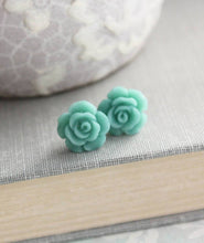 Load image into Gallery viewer, Rose Studs - Teal