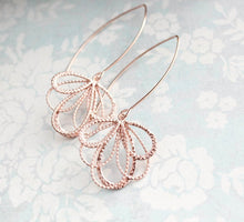 Load image into Gallery viewer, Rose Gold Loops - Long Dangles